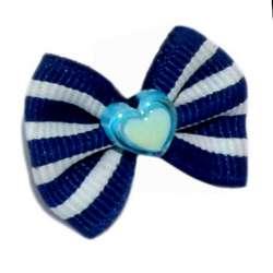 ПетЛайн Бантик синий в белую полоску, камень в виде сердечка, 2 шт., PetLine