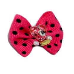 ПетЛайн Бантик розовый с черным горошком, бусинка в виде сердечка, 2 шт., PetLine