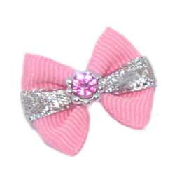 ПетЛайн Бантик розовый с серебряной полоской, розовый камень, 2 шт., PetLine