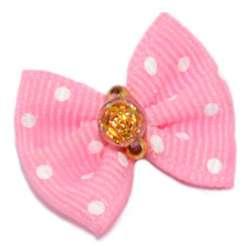 ПетЛайн Бантик розовый с белым горошком, камень золотая розочка, 2 шт., PetLine