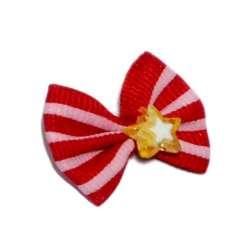 ПетЛайн Бантик красный с розовыми полосками, камень звезда, 2 шт., PetLine