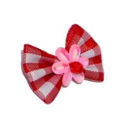 ПетЛайн Бантик красный с белыми квадратами и розовым цветком, 2 шт., PetLine