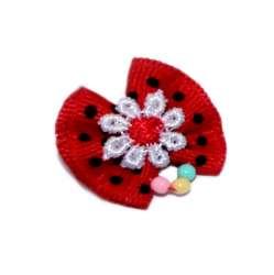 ПетЛайн Бантик красный в черный горошек с белым цветком  и бусинками, 2 шт., PetLine