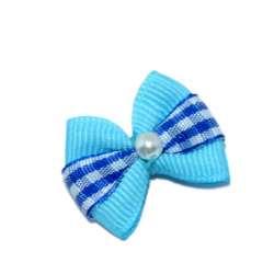 ПетЛайн Бантик голубой с полоской в синий квадрат, с бусинкой, 2 шт., PetLine