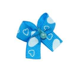 ПетЛайн Бантик голубой с белыми сердечками и бусинкой, 2 шт., PetLine