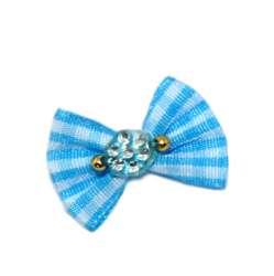 ПетЛайн Бантик голубой в белый квадрат, с голубым камнем, 2 шт., PetLine