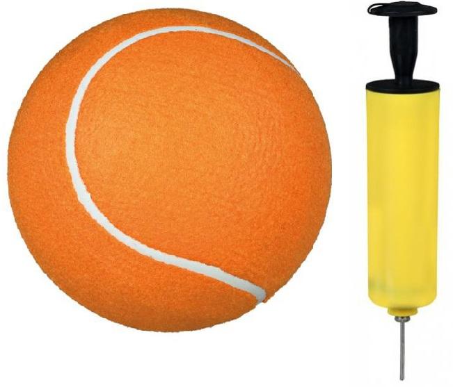 """Трикси Игрушка """"Большой надувной теннисный мяч"""", диаметр 22 см , оранжевый, насос в комплекте, Trixie"""