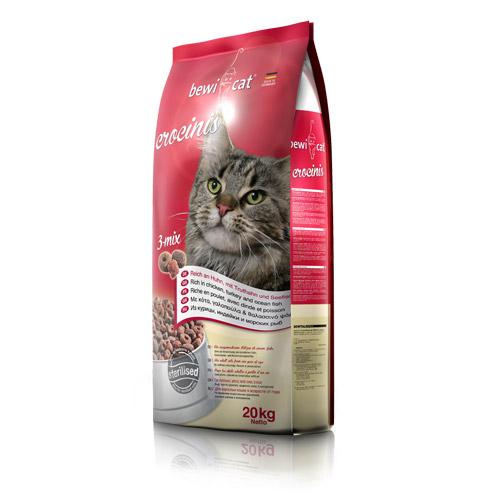 Беви Кэт Корм сухой Сrocinis (Кросинис) Птица/Индейка/Рыба для кошек, в ассортименте, BewiCat