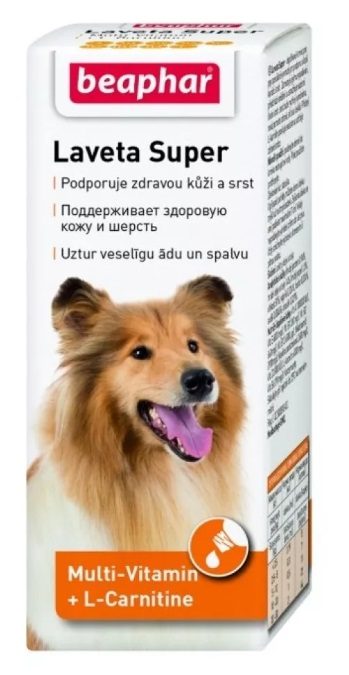 Беафар Мультивитамины Laveta Super для шерсти, при линьке собак, 50 мл, Beaphar