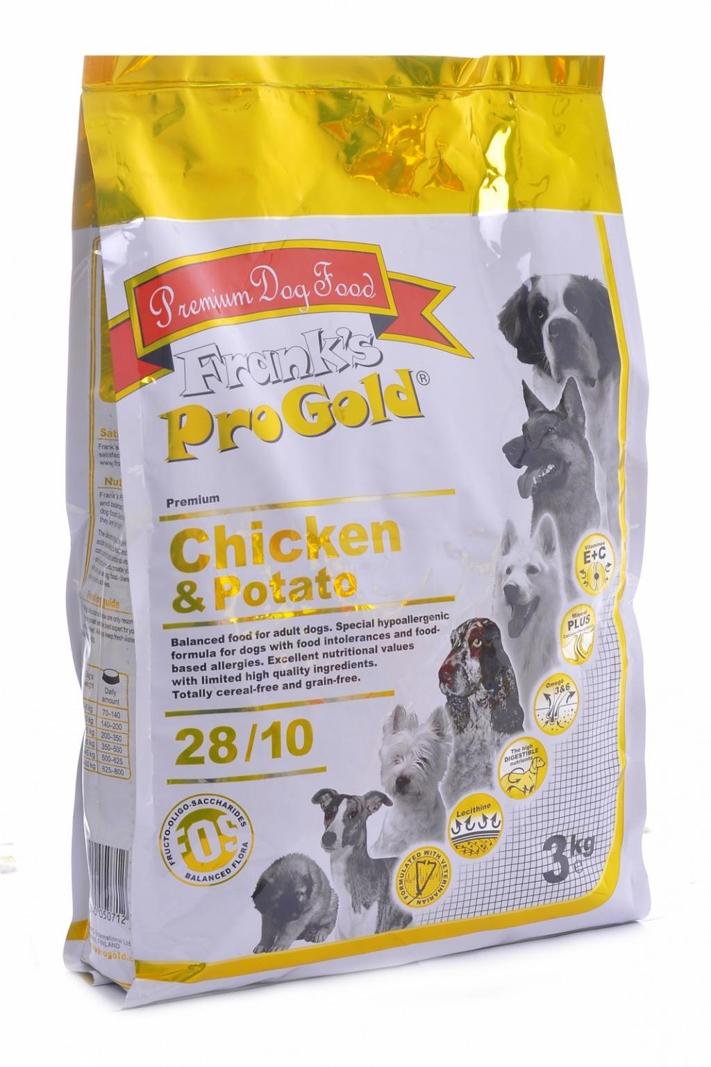 Франкс Про Голд Корм сухой беззерновой Chicken Potato 28/10 для собак, Курица/Молодой картофель, 15 кг, Frank's ProGold
