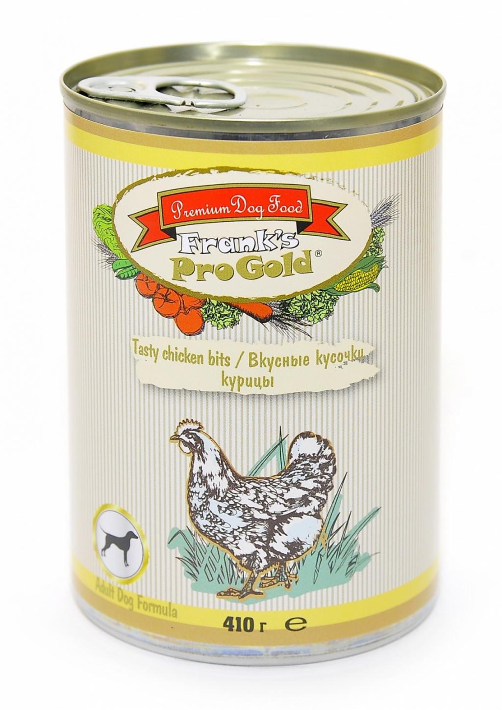 """Франкс Про Голд Консервы """"Вкусные кусочки курицы"""" Tasty chicken bits Dog Recipe для собак, 410 г, Frank's ProGold"""