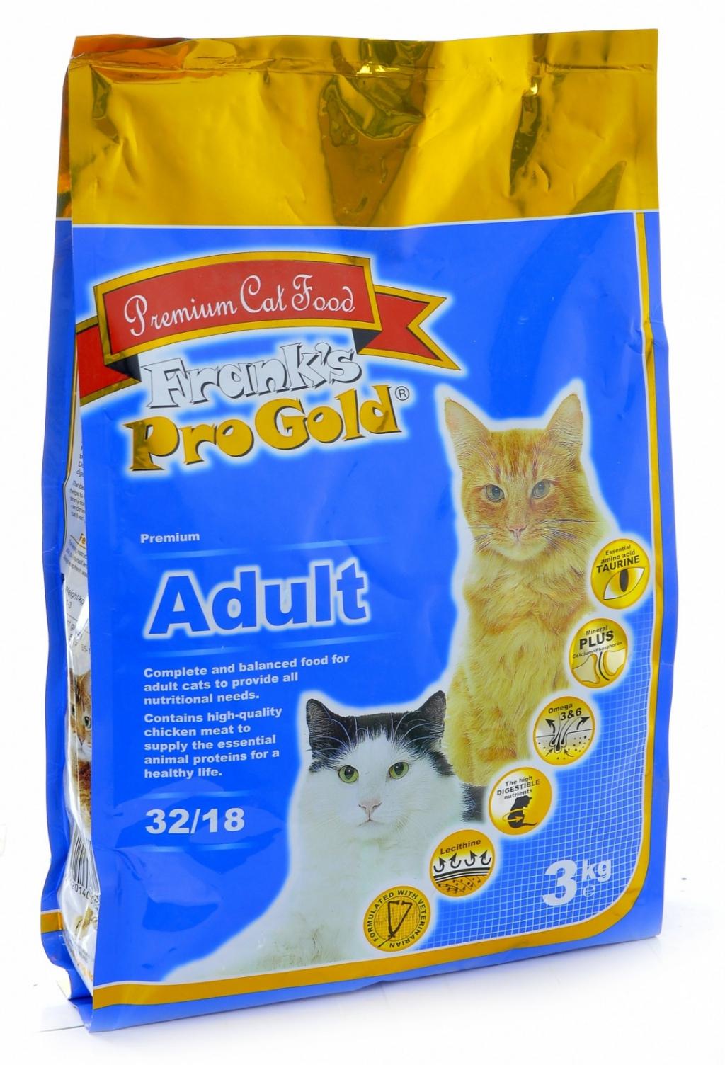 Франкс Про Голд Корм Adult 32/18 для кошек, Курица, 2 весовки, Frank's ProGold