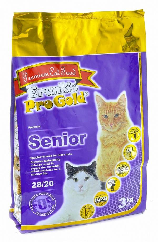 Франкс Про Голд Корм Senior 28/20 для пожилых кошек, 3 кг, Frank's ProGold