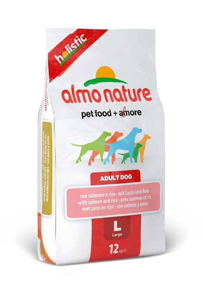 """Алмо Натуре Корм сухой """"Large Salmon Holistic"""" для взрослых собак крупных пород, Лосось, 12 кг, Almo Nature"""