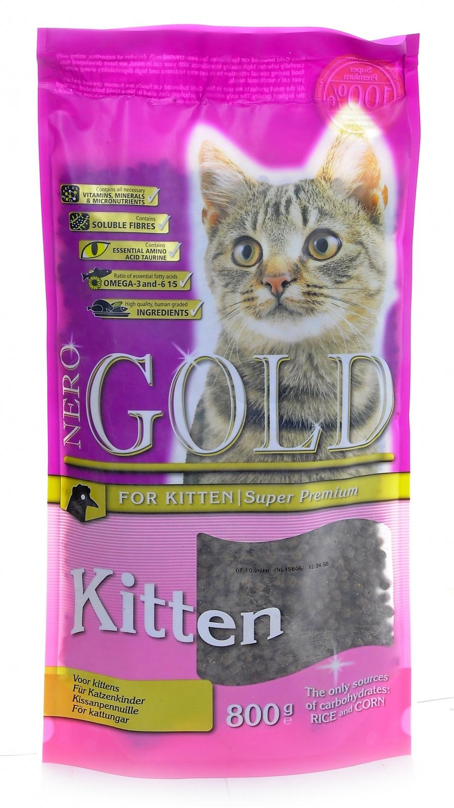 Неро Голд Корм сухой Kitten Chicken 34/22 для котят, Курица, 800 г, Nero Gold