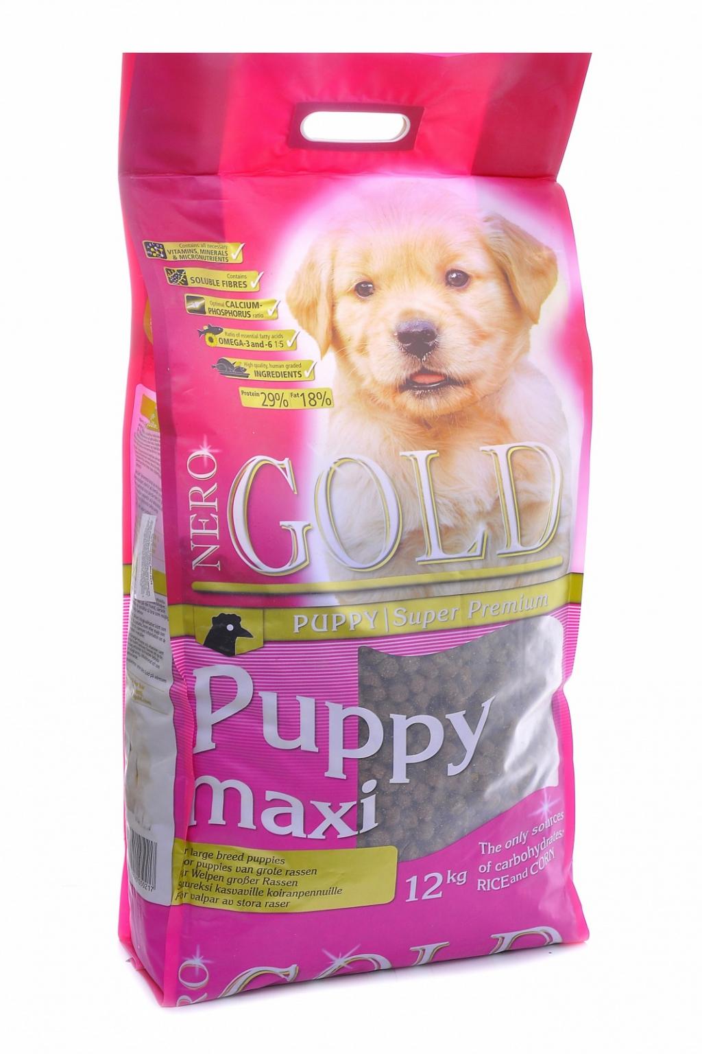 Неро Голд Корм сухой Puppy Maxi 29/18 для щенков крупных пород, Курица/Рис, в ассортименте, Nero Gold