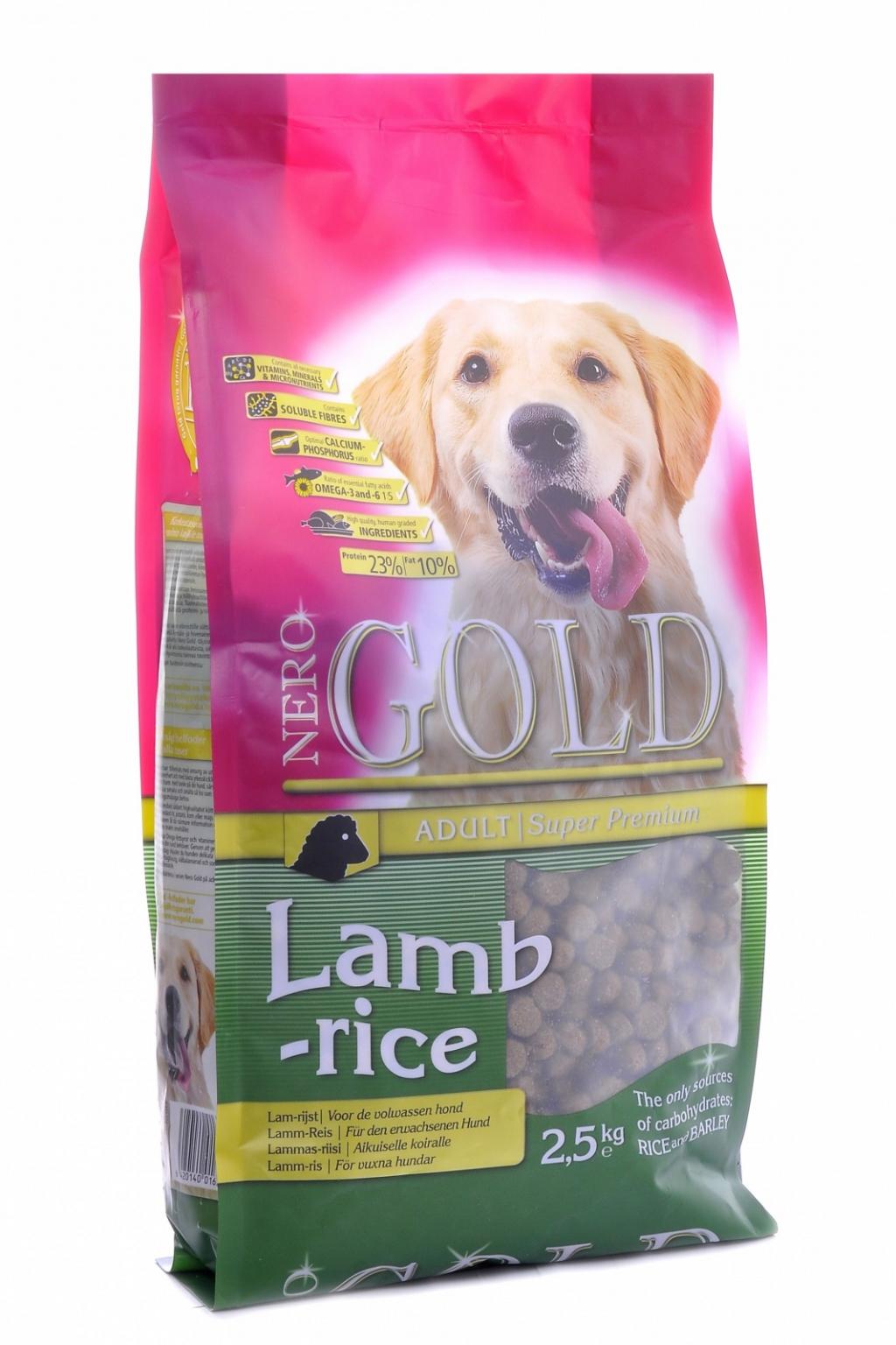Неро Голд Корм сухой Adult Lamb and Rice 23/10 для взрослых собак всех пород, Ягненок/Рис, в ассортименте, Nero Gold