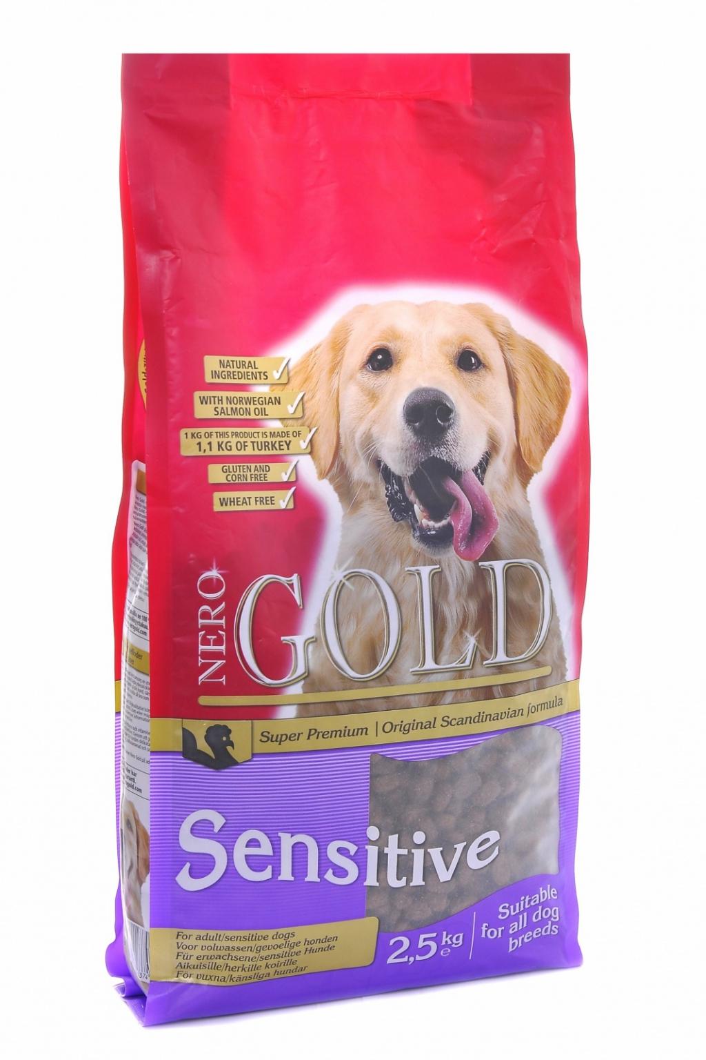 Неро Голд Корм сухой Sensitive Turkey 23/13 для взрослых собак с чувствительным пищеварением, Индейка/Рис, в ассортименте, Nero Gold