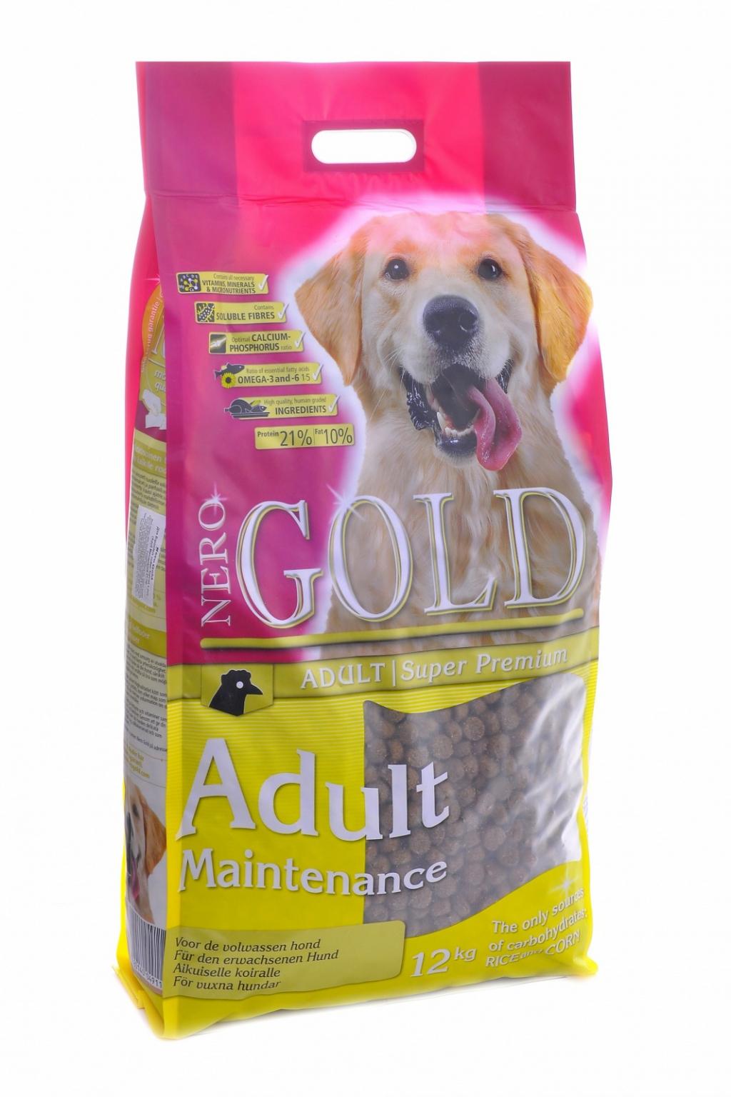 """Неро Голд Корм сухой Adult Maintenance 21/10"""" для взрослых собак всех пород """"Контроль веса"""", Курица, 12 кг, Nero Gold"""