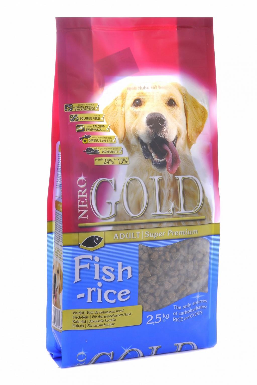 """Неро Голд Корм сухой Fish and Rice 24/13 для взрослых собак всех пород """"Рыбный коктейль"""", Рис/Овощи, в ассортименте, Nero Gold"""