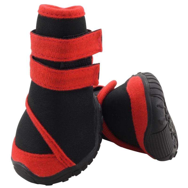 Триол Мягкие демисезонные ботинки для собак 134YXS из неопрена с резиновой подошвой, 6 размеров, черные с красным, Triol