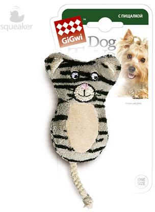 """Гигви Игрушка для собак """"Кот с двумя пищалками"""", 9 см, GiGwi"""