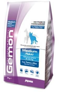 БОНУС Джемон Корм сухой Dog Medium для взрослых собак средних пород, тунец с рисом, 2 весовки, Gemon