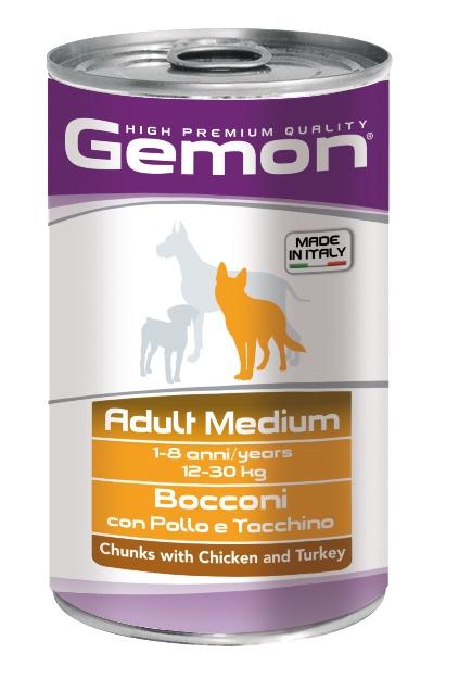 Джемон Консервы для собак средних пород Dog Medium, 2 вкуса, 1250 г, Gemon