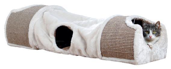 Трикси Туннель-когтеточка с домиками, 110*30*38 см, светло-серый/коричневый, Trixie
