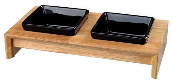 Трикси Миски керамические в деревянной лакированной подставке, в ассортименте, Trixie