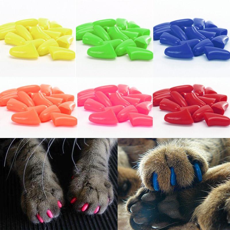 Силиконовые антикоготки для котят и кошек до 2,5-3 кг, размер XS, 20 шт, в ассортименте