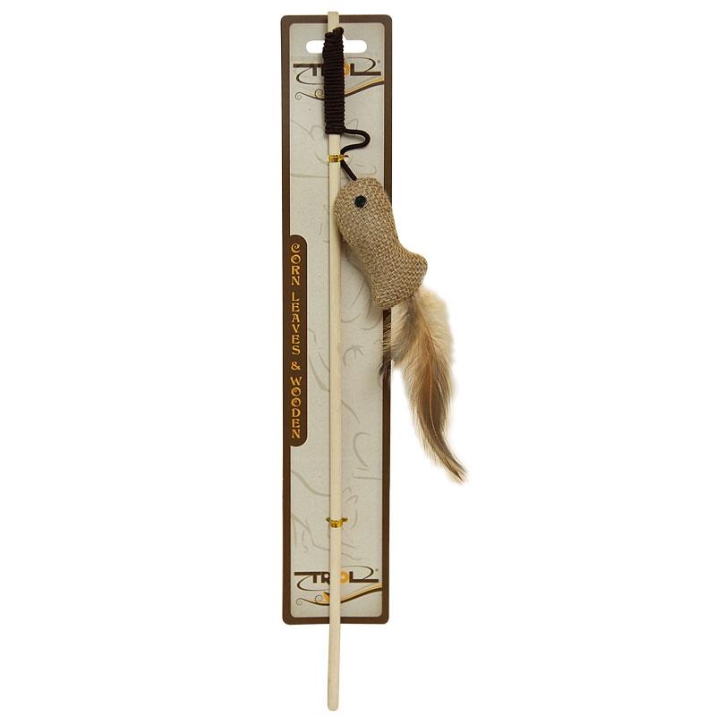 Триол Удочка-дразнилка с деревянной палочкой, 40 см, игрушка 7 см, в ассортименте, Triol