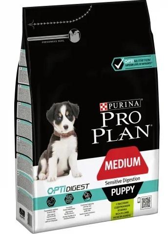 Корм Про План Puppy Medium Sensitive Digestion с комплексом OPTIDIGEST для щенков средних пород с чувствительным пищеварением, Ягненок, в ассортименте, Pro Plan