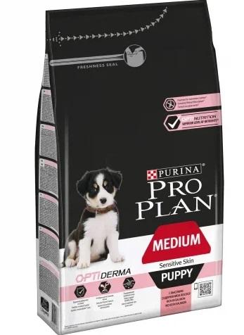 Корм Про План Puppy Medium Sensitive Skin с комплексом OPTIDERMA для щенков средних пород с чувствительной кожей, Лосось, в ассортименте, Pro Plan
