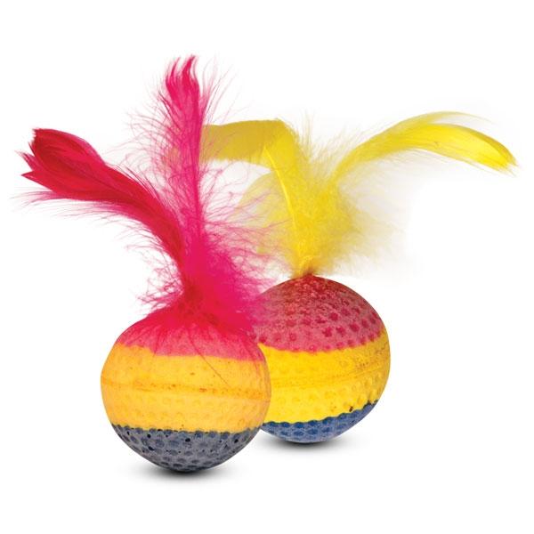 Триол Набор игрушек для кошек 4 радужных мяча с перьями 10N, диаметр 4 см, Triol