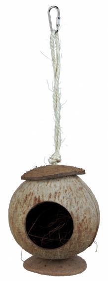 Трикси Домик Кокос для мелких грызунов, рептилий, птиц, диаметр 13 см, длина 31 см, Trixie