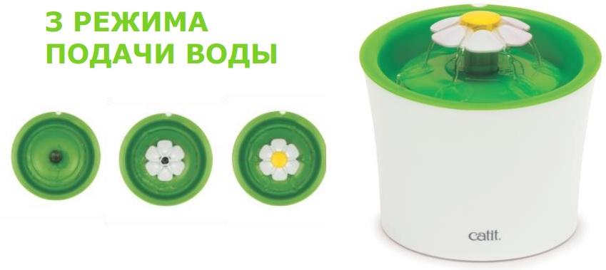 Хаген Питьевой фонтан-цветок Catit Senses 2.0 для кошек и собак, объем 3 л, диаметр 18 см, Hagen