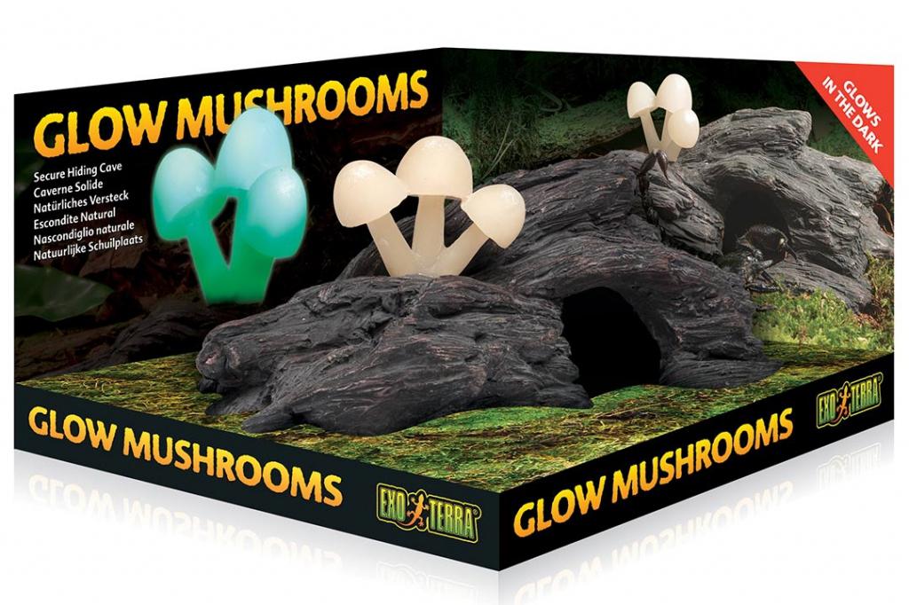 Экзо Терра Укрытие в форме коряги со светящимися ночью грибами Glow Mushrooms, Exo Terra