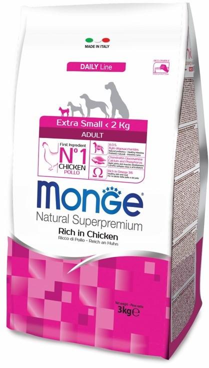 Монже Корм сухой для взрослых собак миниатюрных пород Dog Extra Small, Курица, в ассортименте, Monge