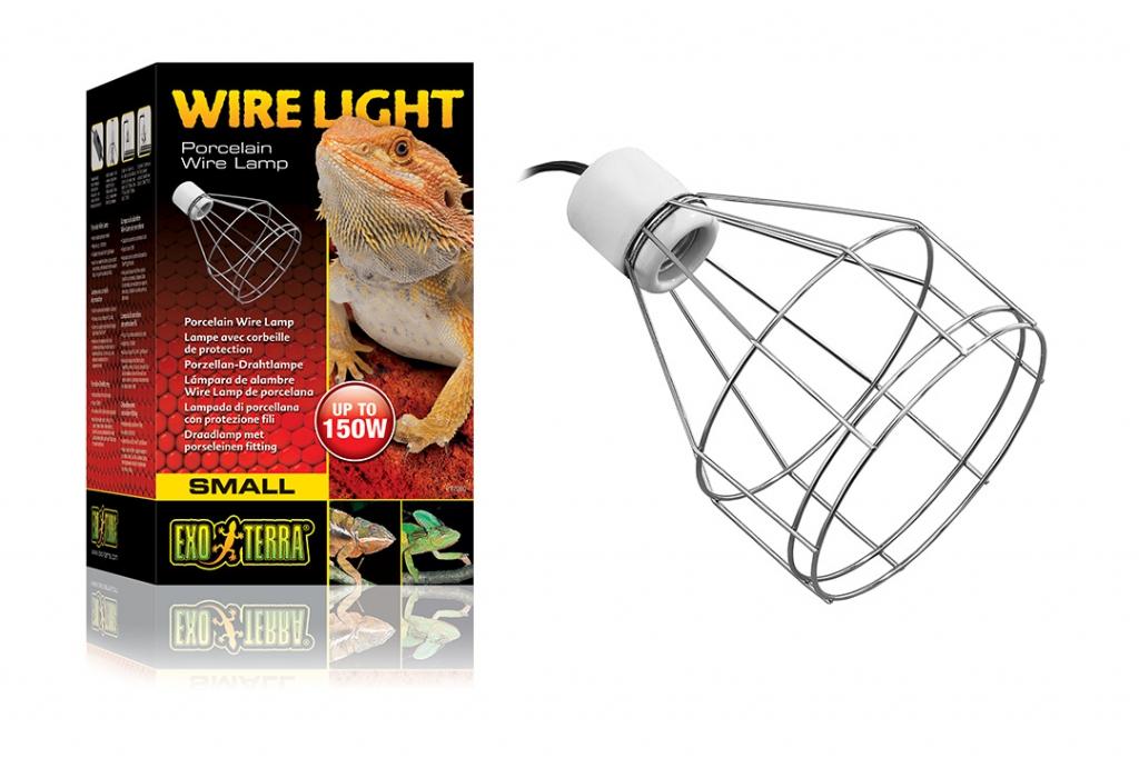 Экзо Терра Проволочный навесной светильник на зажиме с фарфоровым патроном Wire Light, максимальная мощность 150 Вт, диаметр 14 см, Exo Terra