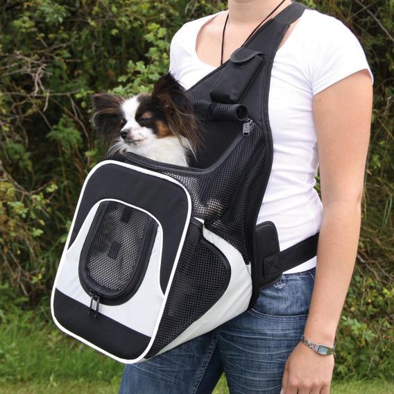 Трикси Переноска-рюкзак на грудь Savina, 30*26*33 см, черный/серый, Trixie