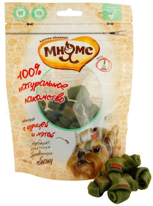 МНЯМС Лакомство для собак Косточки с курицей и мятой, 100 г