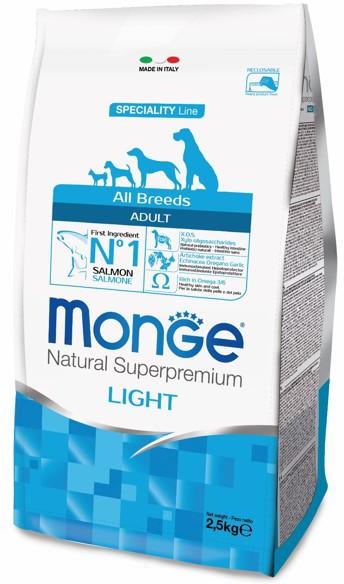 Монже Корм низкокалорийный для собак всех пород Dog Speciality Light, Лосось/Рис, в ассортименте, Monge