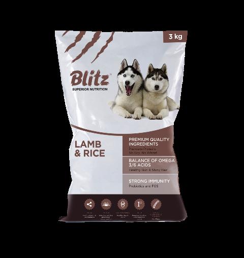 Корм Блиц Adult Lamb/Rice сухой для взрослых собак всех пород, Ягненок/Рис, в ассортименте, Blitz