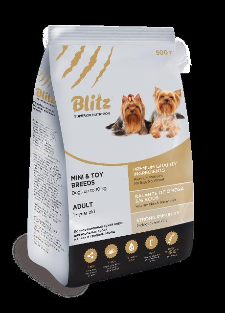 Корм Блиц Adult Mini/Toy Breeds сухой для взрослых собак миниатюрных и мелких пород, Курица, в ассортименте, Blitz