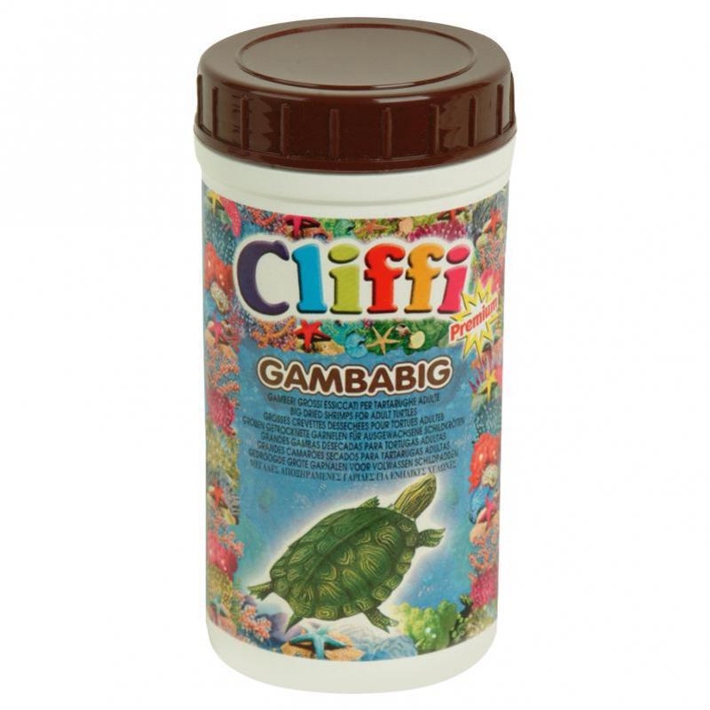 Клиффи Корм для водных черепах, а также насекомоядных животных и птиц Gambabig, большие сушеные креветки, в ассортименте, Cliffi