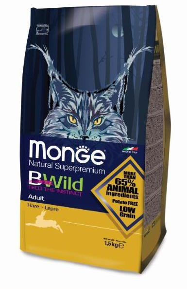 Монже Корм для кошек Bwild Cat Hare с мясом зайца, в ассортименте, Monge