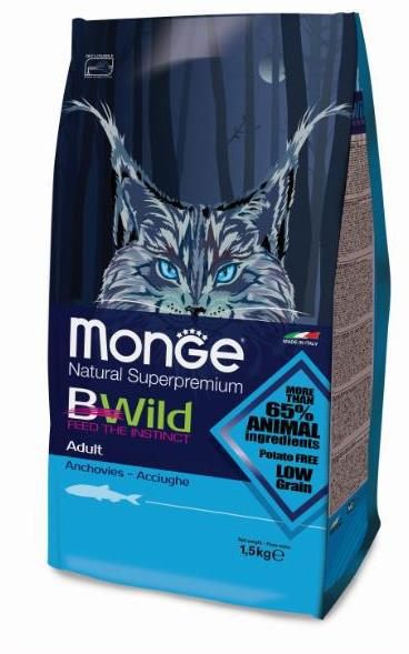 Монже Корм для кошек Bwild Cat Anchovies с анчоусом, в ассортименте, Monge