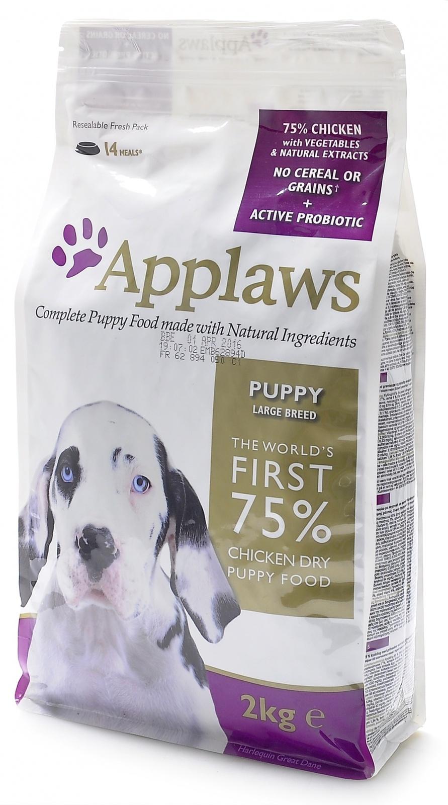 Эплауз Корм беззерновой для щенков крупных пород Dry Dog Chicken Large Breed Puppy, Курица/овощи, 7,5 кг, Applaws