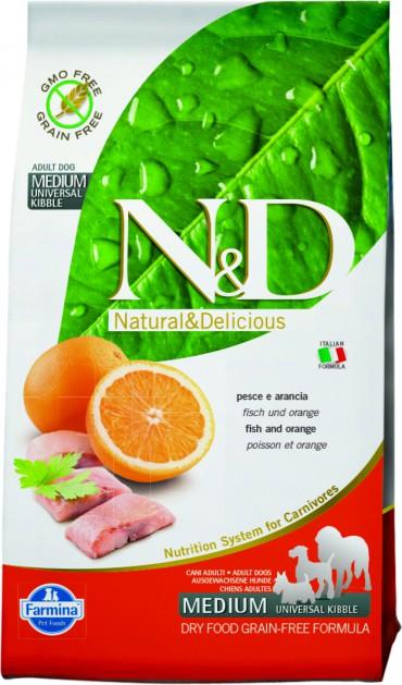 Фармина Корм сухой N/D беззерновой для собак всех пород, Рыба/Апельсин, 2,5 кг, Farmina